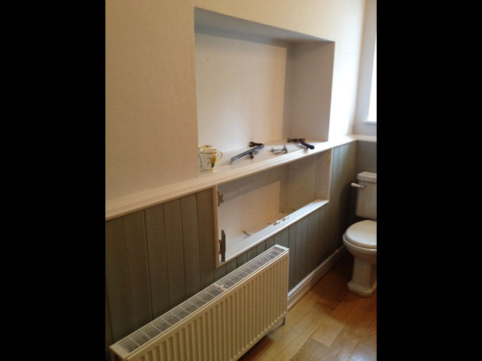 bathroom timber panelling installation image 1