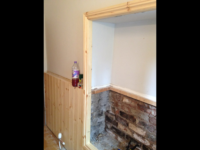 bathroom timber panelling installation image 2