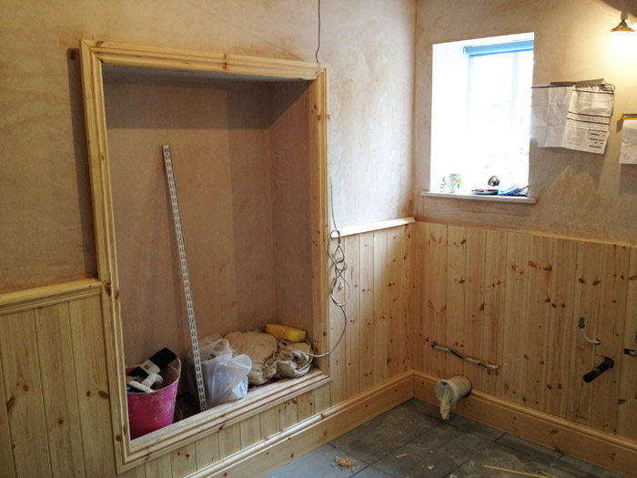 bathroom timber panelling installation image 3